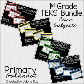"""1st Grade """"I Can"""" TEKS Statement Poster Bundle: Primary Polka Dot"""