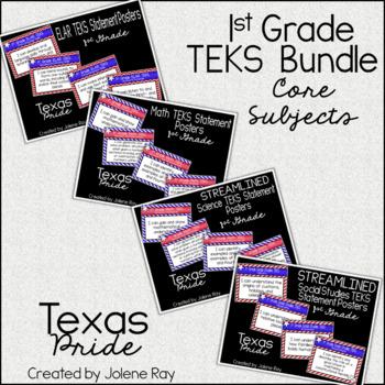 """1st Grade """"I Can"""" TEKS Statement Poster Bundle: TEXAS PRIDE"""