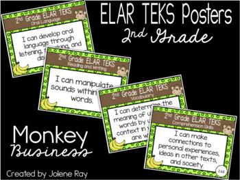 """2nd Grade """"I Can"""" TEKS Statement Poster Bundle: MONKEY BUSINESS"""