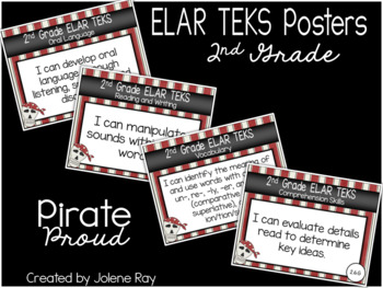 """2nd Grade """"I Can"""" TEKS Statement Posters: PIRATE PROUD"""
