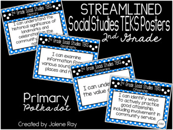 "2nd Grade ""I Can"" TEKS Statement Poster Bundle: PRIMARY POLKADOTS"