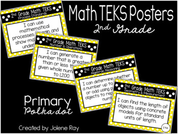 "2nd Grade ""I Can"" TEKS Statement Poster Bundle: PRIMARY POLKADOTS"