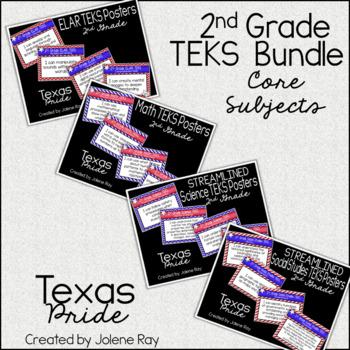 """2nd Grade """"I Can"""" TEKS Poster Bundle: TEXAS PRIDE"""