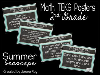 """2nd Grade """"I Can"""" TEKS Statement Poster Bundle: SUMMER SEASCAPE"""
