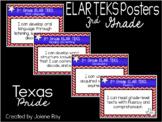 "New 2019-2020 3rd Grade ELAR TEKS ""I Can"" Statement Posters: TEXAS PRIDE"