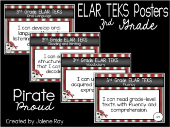 "New 2019-2020 3rd Grade ELAR TEKS ""I Can"" Statement Posters: PIRATE PROUD"