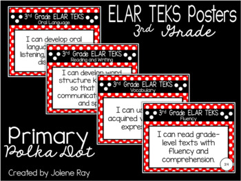 """NEW 2019-2020 3rd Grade ELAR TEKS """"I Can"""" Statement Posters: PRIMARY POLKADOT"""