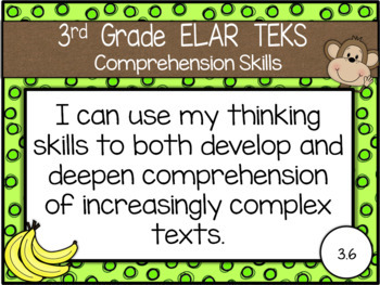 """NEW 2019-2020 3rd Grade ELAR TEKS """"I Can"""" Statement Posters: MONKEY BUSINESS"""