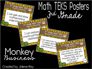 "3rd Grade ""I Can"" TEKS Statement Poster Bundle: MONKEY BUSINESS"