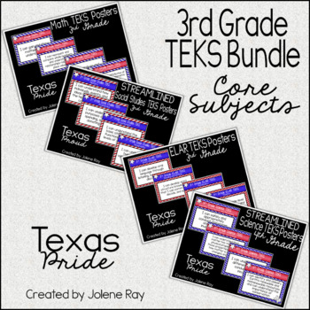 "3rd Grade ""I Can"" TEKS Statement Poster Bundle: TEXAS PRIDE"