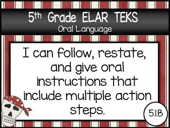 """2019-2020 5th Grade ELAR """"I Can"""" TEKS Statement Posters: PIRATE PROUD"""
