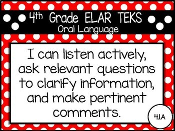 "2019-2020 4th Grade ELAR TEKS ""I Can"" Statement Posters: PRIMARY POLKADOT"