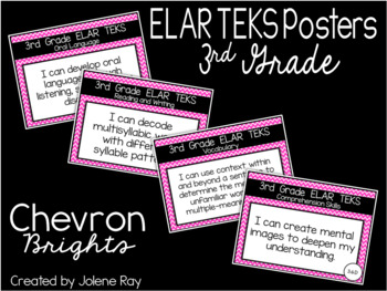 "New 2019-2020 3rd Grade ELAR TEKS ""I Can"" Statement Posters: CHEVRON BRIGHTS"