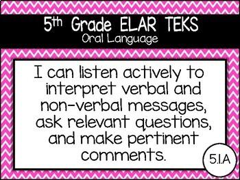 "5th Grade ELAR ""I Can"" TEKS Statement Posters: CHEVRON BRIGHTS"
