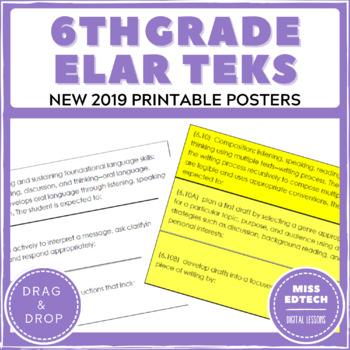 New 2019 ELAR TEKS Posters - 6th Grade