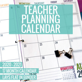 2020-2021 Printable Teacher Planning Calendar Template [Ex
