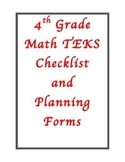 New 4th Grade Math TEKS Checklist and Planning Forms