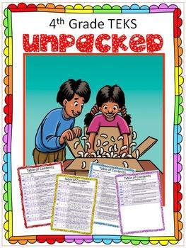New 4th Grade Math TEKS- UNPACKED!!  Each is broken down i
