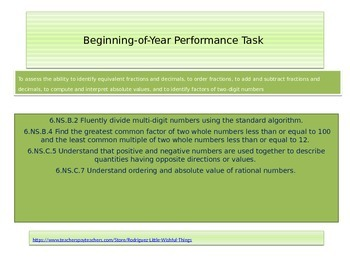 New 6th grade Math Beginning of Year Performance task 2015