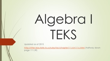 New Algebra I TEKS / objectives - separate pages for displaying