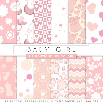 New Baby Girl Digital Paper, scrapbook backgrounds.