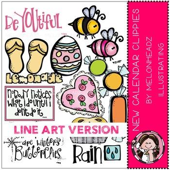 New Calendar Clippies by Melonheadz LINE ART