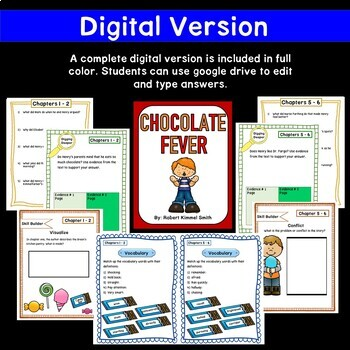 New!!!! Chocolate Fever Novel Study - Printable and Paperless Versions