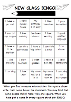 New Class Bingo! Back to school ice breaker