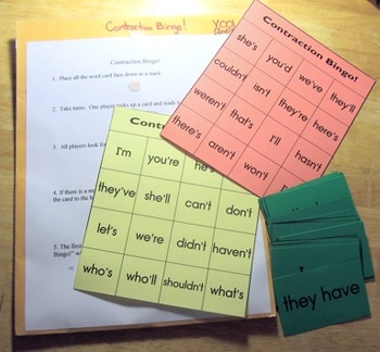 New Contraction Bingo! Game Literacy Center Ready to Use
