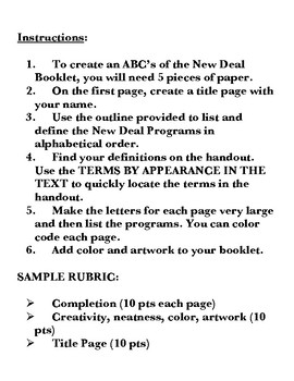 New Deal ABC's Booklet Project and Discussions
