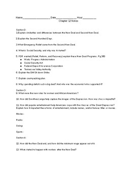 New Deal And Second New Deal Worksheet
