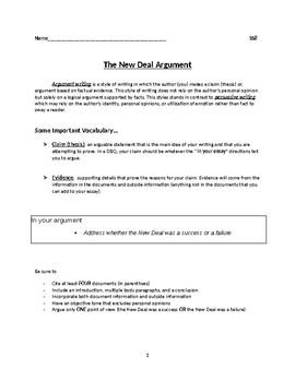 New Deal Argumentative Essay By Joanna Kelly  Teachers Pay Teachers New Deal Argumentative Essay Essay On Importance Of English Language also Economics Help  Sample Essays High School