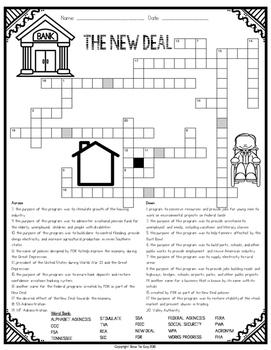 New Deal Comprehension Crossword