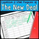 New Deal Legislation and Work Programs Chart