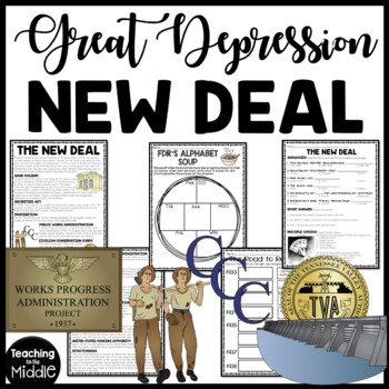 New Deal Reading Comprehension and DBQ Worksheet, Great Depression, FDR