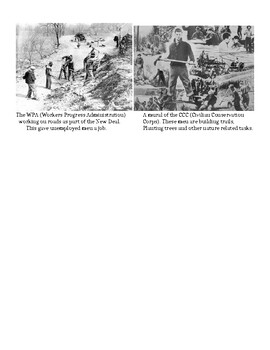 New Deal Reading, Map and Political Cartoon Analysis Activity