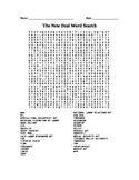 Great Depression: New Deal Word Search