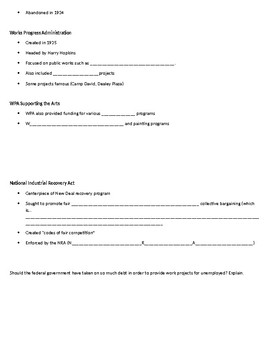 New Deal and Great Depression Notes Packet