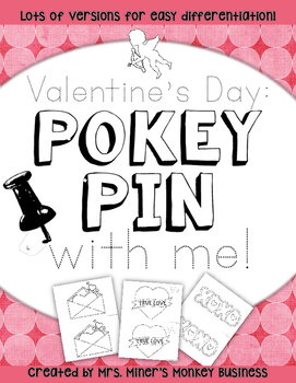 New Differentiated Pokey Pin Valentine's Day Fine Motor  Literacy Centers To Go