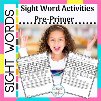 Sight Word Practice Worksheets Pre-primer Activity Ready to Use Printables