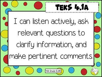 "New ELAR 4th Grade TEKS ""I can statements."""