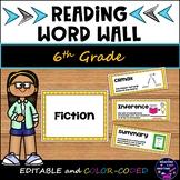 New ELAR TEKS 2019 6th Grade Reading Word Wall