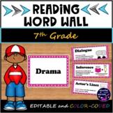 Editable 7th Grade Reading Word Wall using ELAR TEKS 2019