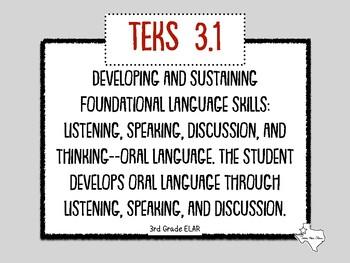 "New ELAR 3rd Grade TEKs ""I can"" statements!"