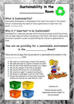 Documenting SUSTAINABILITY in the Early Childhood setting - An EYLF Resource Pac
