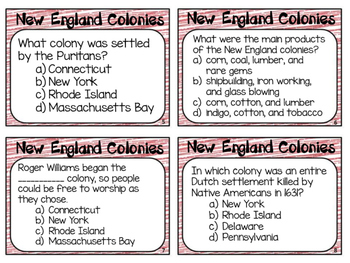 13 Colonies: New England Colonies Task Cards