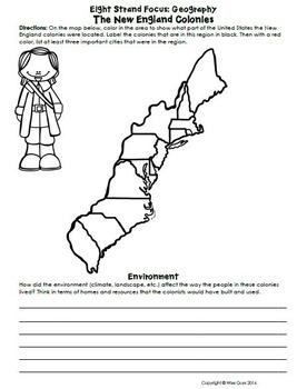 New England Colonies Activities, Worksheets, Common Core Standards