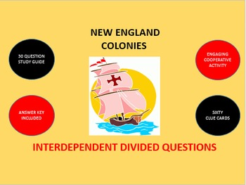 New England Colonies: Interdependent Divided Questions Activity