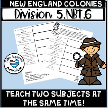 New England Colonies 5th Grade Division with Two Divisors Math Worksheets