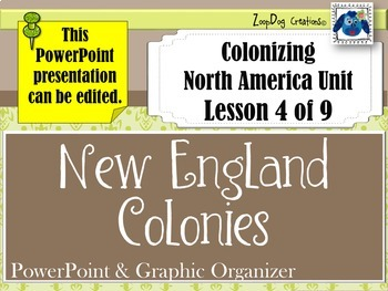 New England Colonies PowerPoint and Graphic Organizer
